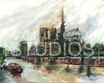 Notre Dame de Paris, Paris artwork, France, Giclee, watercolor print