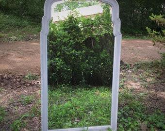 Hand Painted Vintage Drexel Beveled Mirror, Wood Frame Mirror, Coastal Decor, White, Tan, Neutral Decor, Wall Mirror, Accent Mirror, Cream