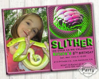 Girl Snake Birthday Photo Invite Printable Reptile Party Personalized Pink Green 4 x 6 or 5 x 7
