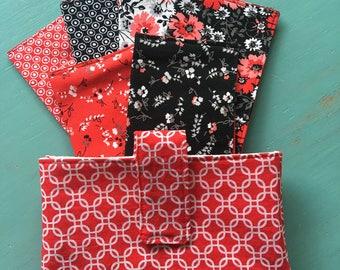 Red and Black Dave Ramsey Fabric Cash Envelopes budgeting system or couponing system with wallet