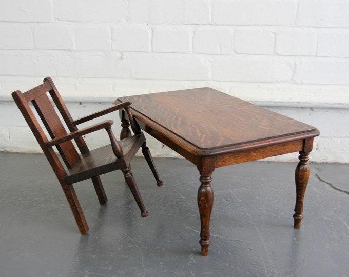 Early 20th Century Apprentice Made Table & Chair