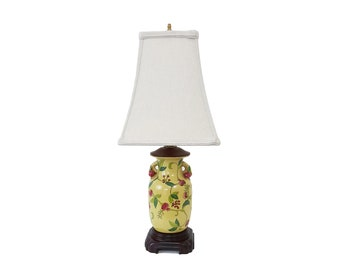 Asian Yellow Pottery Desk Bedroom Lamp with Pomegranates Chinese Hollywood Regency Pagoda Shade Included