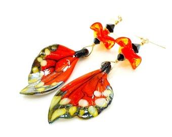 Butterfly Wing Earrings, Butterfly Earrings, Butterfly Jewelry, Lampwork Earrings, Gold Dangle Earrings, Wing Earrings, Glass Bead Earrings