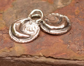 Two Rustic Moon Charms in Sterling Silver CH-177