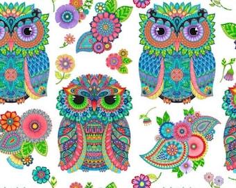 Wilmington Prints - Night Bright - Owl Panel - White