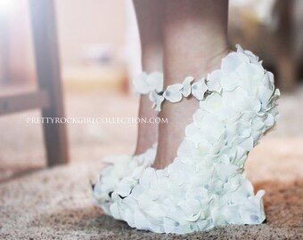 Rose Petal Wedge wedding  shoes, bridal shoes, hand made shoes, white shoes, prom shoes, custom shoes, wedge pumps, bridesmaid shoes
