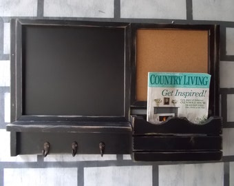 Framed Chalk Board/Message Center/Corkboard Center/ Magazine Organizer/Kitchen Message Board
