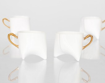 Coffee cups set of four- unique coffee mug or tea cup white with gold, contemporary ceramic cup handmade by ENDE