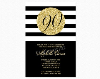 Black and Gold 90th Birthday Party Invitation, 90th Birthday Invitation, Gold Glitter, Milestone Birthday, Printable or Printed