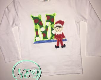 Boy's Elf On The Shelf/ Letter Applique Shirt