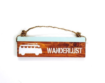 Wanderlust sign / travel/ anthropologie/ urban outfitters/ brandy melville/ vw bus / wall hanging / decor