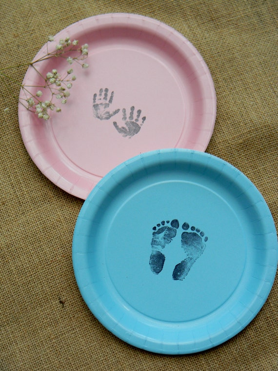 Baby Shower Footprints and Hand Prints Paper Dessert Cake Plates Gender Neutral Girl or Boy- Set of 20 from CharlestonCharms on Etsy Studio & Baby Shower Footprints and Hand Prints Paper Dessert Cake Plates ...