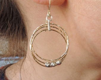 14K Gold Filled and Sterling silver 925 Laser Beads Dangle Multiple Circle Simple Hammered Hoop Long Earrings - AL1