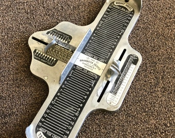 Vintage Brannock Device Shoe Metal Foot Size Measuring Tool Adult