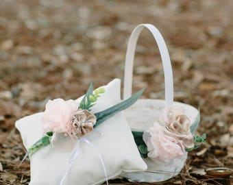 Ring Bearer Pillow and Flower Girl Basket Set | Flower Girl Basket | Ring Bearer Pillow | Wedding | Shabby Chic | White and Rose Gold