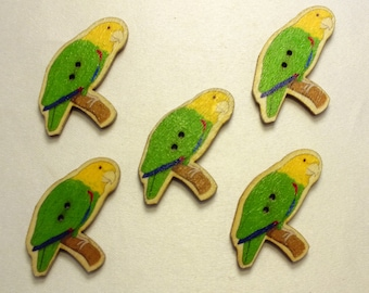 LOT 5 wood buttons: theme birds 40 * 26mm (03)