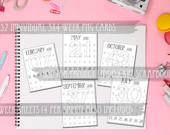 Individual Printable 2018 Numbered Week PNG Images-PL Monthly Calendar-Monday to Sunday-Digital Project Life Cards-PDF File included