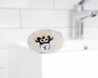 Felted soap - Swaledale sheep soap. Enriched with lanolin soap and wrapped in British wool. Naturally exfoliating, antibacterial