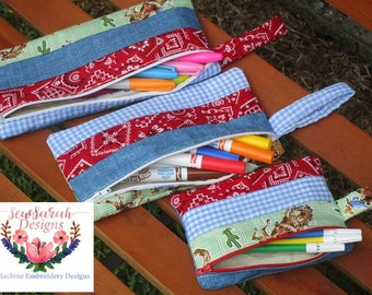 In The Hoop striped pencil case set of 3 (5x7,6x10,8x11) machine embroidery Instant digital download