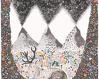 Deer Giclee Print Illustration