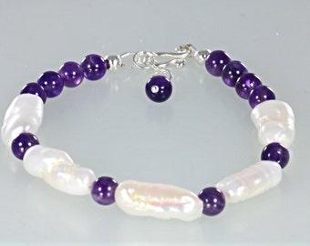 Amethyst and Biwa Pearl Boho Bracelet, Amethyst Pearl Stacking Bracelet, Purple Gemstone Bead Bracelet