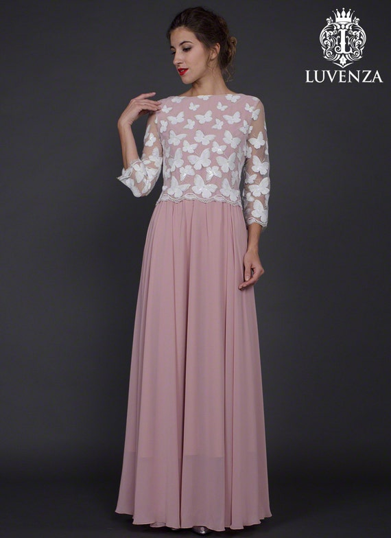 Sequinned Lace Maxi Dress Lace Evening Dress Dusty Rose