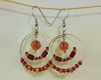 brown and amber layered hoop earrings