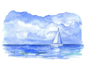 Sailboat Watercolor Painting - 14 x 11 - Giclee Print - Ocean Seascape Art