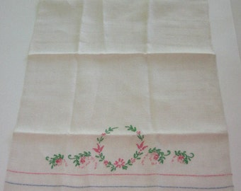 Vintage Embroidered Linen Tea Towel Hand Towel