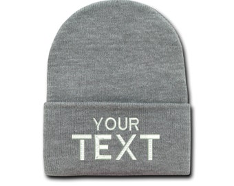 Light Heather Grey Custom Embroidered Cuffed Beanie, Your Own Personalized  Hat Custom Embroidery on a