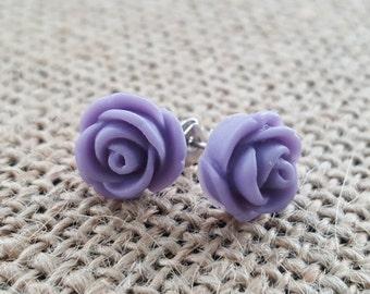 Vintage Lilac Rose Earrings- Mint Wedding - Bridesmaid Earrings- 28 Colors - Purple Earrings - Flowergirl Earrings - Mint Earrings Coral