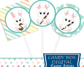 Ready-To-Print Easter Cupcake Toppers or Stickers, Easter DIY Party Decor - Commercial Use OK