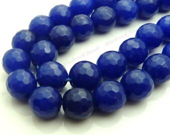 10mm Ultramarine Blue Jade Faceted Gemstone Beads - 19pcs - BE3
