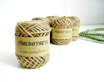 1 Roll - 15 Mt Kraft JUTE Twine String for gift wrapping, crafts projects, rustic wrapping (15 mt)