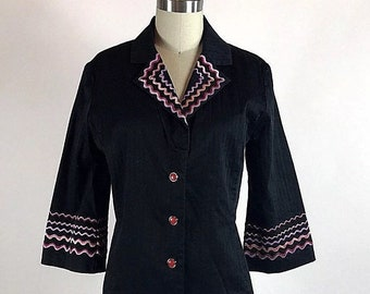 Vintage 1990s XS Bob Mackie Wearable Art Black Embroidered Button Up Top Blouse