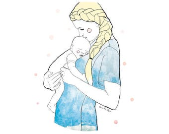 Illustration woman and her baby / print 21 X 29, 7 / Emilie Raguin