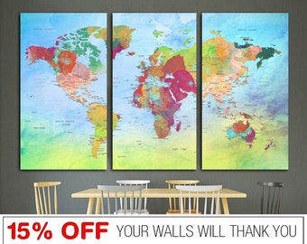 word map canvas colorfull world map world map world map print canvas