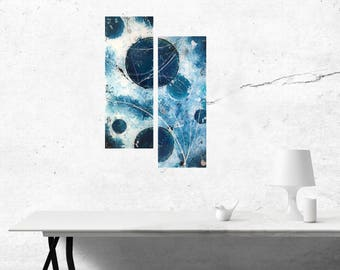 Celestial world, Diptych, abstract art, contemporary painting on plexiglass