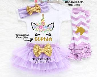 Personalized Name Unicorn Outfit, First Birthday Outfit Girl, Unicorn Birthday Outfit, First Birthday Unicron Outfit, Unicorn Shirt U1L