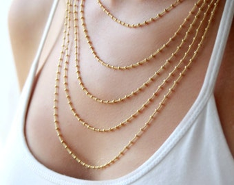 Multi layered chain necklace / layering jewelry / gold layered necklace / birthday gift for her
