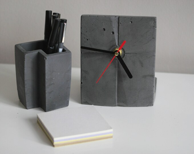 Architectural Concrete Decorative Container | Desk Accessories | Penholder | Display | Urban | Industrial