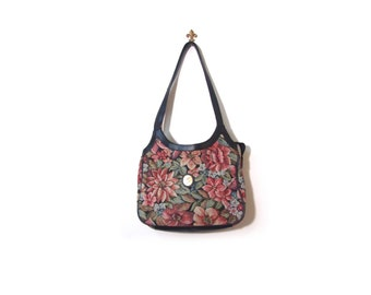 Vintage 80s Floral Tapestry GRUNGE GRANNY Shoulder Purse goth preppy indie vestiesteam boho chic vegan eco friendly