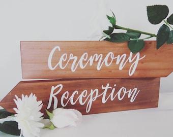 Wedding Direction Signs. Rustic Wedding Sign. Wedding sing. Ceremony &  Reception Sign.
