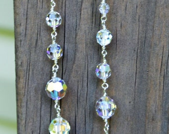 Swarovski Crystal Dangle Earrings with Silver Lever Backs