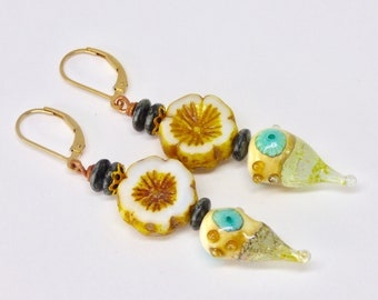 Yellow Floral Earrings, Boho Floral Jewelry, Yellow Lampwork Earrings, Handmade Art Earrings, Yellow and Blue Earrings, Pretty Gold Earrings