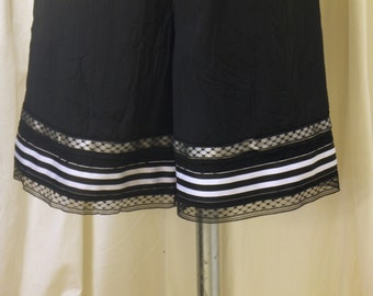 Short Black Bloomers, Pantaloons, Knickers in Polyester Crinkle Fabric w/ Black Laces, Black & White Striped Ribbon, Size XS