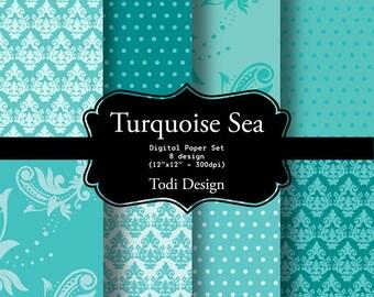 Turquoise Sea-  I N S T A N T • D O W N L O A D Digital Paper Set