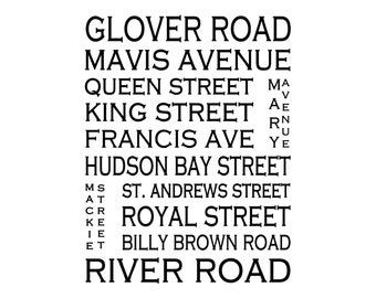 Fort Langley B.C. - Love This Place Street Name Art Print on Paper - Customize With Your Street - Vancouver Home Decor The Jitterbug Shop