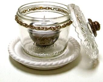 Rustic Wide Mouth Mason Jar, issus de Mason Jar, LED thé Lite porte, bougeoir en verre, maison rustique Accent, décor de Style industriel,