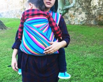 Baby Wrap carrier Mexican Senka Cyan w rainbow stripes 5,5 yards baby carrier